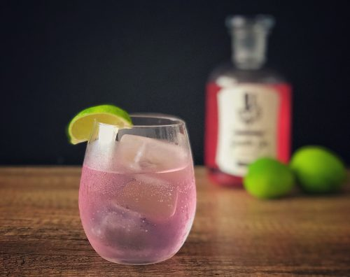 gentle gin with pink and tonic cocktail